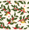 christmas seamless pattern with holly berry vector image vector image