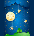 countryside fantasy at night vector image vector image