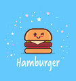 cute hamburger cartoon comic character with vector image vector image