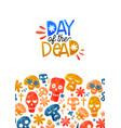 day dead card cute watercolor skull cartoon vector image vector image