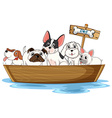 Dogs on boat vector image vector image