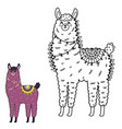 dot to dot game with funny llama vector image vector image