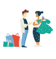 fashion shopping woman and stylist choosing dress vector image vector image