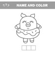 funny pig coloring book drawing game vector image vector image