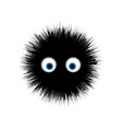 furry monster round cartoon prickly character vector image
