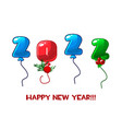 greeting card happy new year 2022 numbers balloons vector image vector image