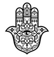 hamsa hand with mandala design - decorative vector image