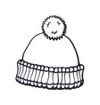 hand drawn doodle winter hat with pompon vector image vector image