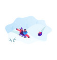 happy toddlers enjoying sledge ride in beautiful vector image