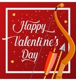 Happy Valentines Day lettering text with golden vector image vector image