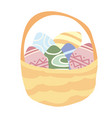 isolated basket of easter eggs on vector image vector image