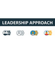 leadership approach icon set four simple symbols vector image vector image
