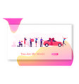 man giving presents to girl website landing page vector image vector image