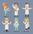 medic different positions doctor characters set vector image vector image
