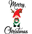 merry christmas christmas gnome in red hats vector image vector image