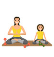 mother and daughter involved sport engaged in yoga vector image