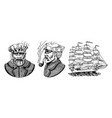 nautical sailing ship in sea captain or vector image