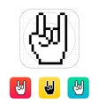 Pixel rock hand icon vector image vector image