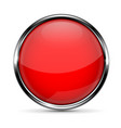 red round glass button with chrome frame vector image vector image