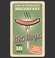 retro poster of hot dog fast food vector image vector image