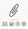 Safety pin icon paperclip sign vector image