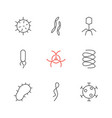 set of virus and bacteria icons vector image