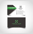 simple green and dark color business card vector image