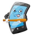 smart phone cartoon holding wooden baseball bat vector image