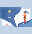 sport bunner with running girl on gradient vector image