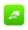 surf wave icon digital green vector image vector image