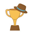 trophy with hat vector image vector image