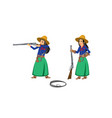 two cowgirls with rifles vector image