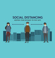 two man and woman social distancing 01 vector image vector image