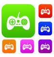 video game console controller set color collection vector image