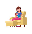 young mother breastfeeding sitting on a chair vector image