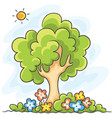 tree and flowers vector image