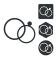 Wedding rings icon set monochrome vector image