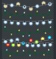 christmas garlands on transparent background vector image