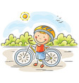 little boy and bike vector image