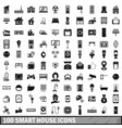 100 smart house icons set in simple style vector image vector image