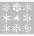 9 white snowflakes vector image