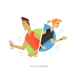 Athletic man and woman symbol vector image vector image
