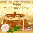 background greeting card for valentines day vector image