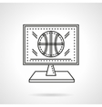 Basketball online flat line icon vector image vector image