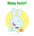 Blue Bunny With An Easter Basket vector image vector image