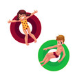 boy and girl kids children floating swimming on vector image vector image
