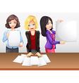 Businesswomen working in team vector image