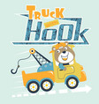 cartoon bear drive tow truck vector image vector image
