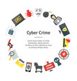 cartoon cyber crime security banner card circle vector image