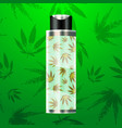cbd oil bottle with cannabis pattern background vector image